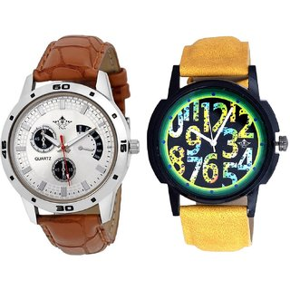 Awesome Exclusive Digits And Designer Brown Leather Casual Analog Combo Men's Watch By Ganesha Exim