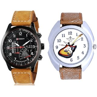 Stylish Guitar Art And Curren Meter Leather Hand Strap Quartz  Combo Analogue Wrist Watch By Ganesha Exim