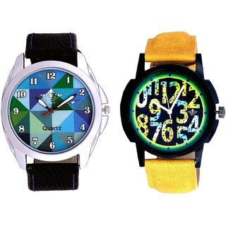 Awesome Exclusive Digits And Royal Sky Colour Art Men's Combo Casual Watch By Ganesha Exim