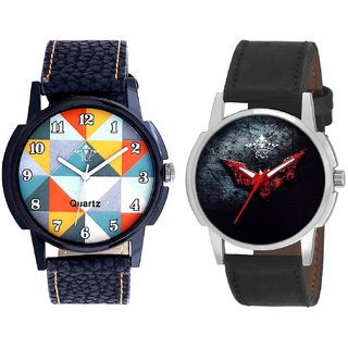 Fancy Orange Colour And Black - Red Fancy Dial Analogue Men's Combo Watch By Ganesha Exim