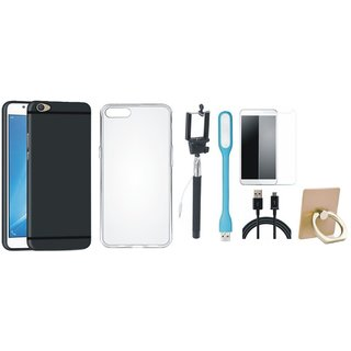 Oppo A37 Soft Silicon Slim Fit Back Cover with Ring Stand Holder, Free Selfie Stick, Tempered Glass, LED Light and USB Cable