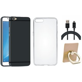 Oppo A37 Soft Silicon Slim Fit Back Cover with Ring Stand Holder, Silicon Back Cover, USB Cable