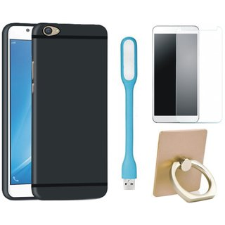 Oppo A37 Silicon Slim Fit Back Cover with Ring Stand Holder, Tempered Glas and USB LED Light