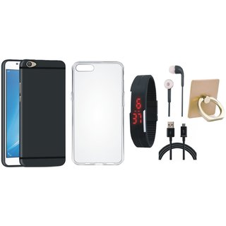Oppo A37 Soft Silicon Slim Fit Back Cover with Ring Stand Holder, Silicon Back Cover, Digital Watch, Earphones and USB Cable