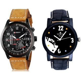Goal Achived Motivated And Curren Meter Leather Hand Strap Quartz  Combo Analogue Wrist Watch BY Harmi Exim