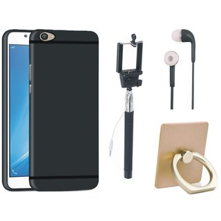 Oppo A37 Silicon Slim Fit Back Cover with Ring Stand Holder, Selfie Stick and Earphones