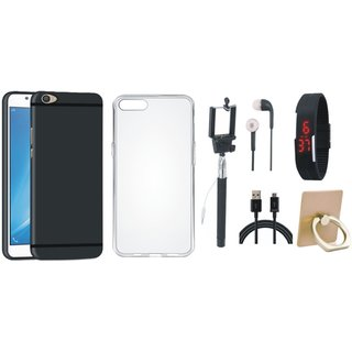 Oppo A37 Soft Silicon Slim Fit Back Cover with Ring Stand Holder, Silicon Back Cover, Selfie Stick, Digtal Watch, Earphones and USB Cable