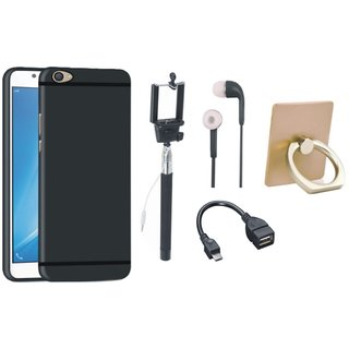 Oppo A37 Silicon Slim Fit Back Cover with Ring Stand Holder, Selfie Stick, Earphones and OTG Cable