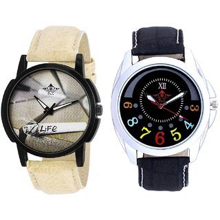 Classical Black Round Dial And Life Print Dial Men's Combo Quartz Watch BY Harmi Exim