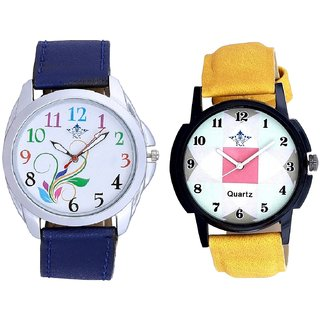 Colouring Flowers And Luxury Square Design Analogue Men's Combo Watch BY Harmi Exim