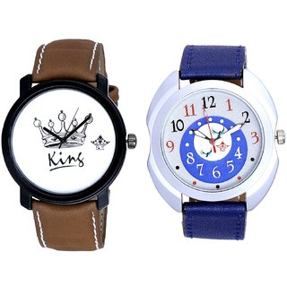 Almight Blue Round Dial And King Dial Men's Combo Analog Wrist Watch BY Harmi Exim