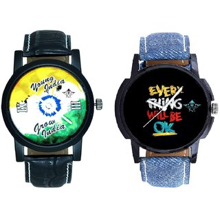 Every Thinke Will Be Ok And Young India Grow India Men's Analog Combo Casual Wrist Watch BY Harmi Exim