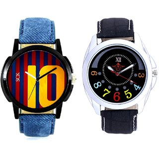 Classical Black Round Dial And Yelow 10 Analogue Men's Combo Watch BY Harmi Exim