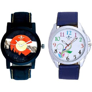 Colouring Flowers And Winter Mount Themes Men's Combo Analog Wrist Watch BY Harmi Exim