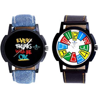 Every Thinke Will Be Ok And Exclusive Multi Colour Men's Combo Wrist Watch BY Harmi Exim