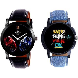 Every Thinke Will Be Ok And 2 Jaguar Analogue Men's Combo Wrist Watch BY Harmi Exim