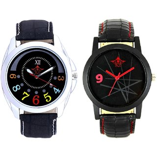 Classical Black Round Dial And Star Design Casual Analog Combo Men's Watch BY Harmi Exim