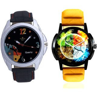Stylish 3D Designer And Goal Achived Art Men's Combo Wrist Watch By Taj Avenue