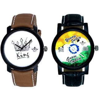 Young India Grow India And King Dial Men's Combo Analog Wrist Watch By Ganesha Exim