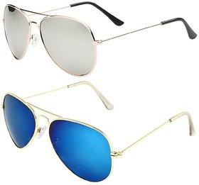 Combo of 2 mirrored Aviator Sunglasses