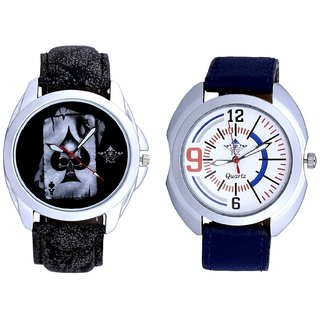 Life Race Akka And Blue Sport Leather Strap Casual Analog Combo Men's Watch BY Harmi Exim