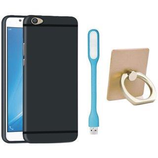 Vivo V7 Premium Quality Cover with Ring Stand Holder, USB LED Light