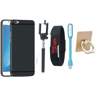 Oppo A37 Silicon Anti Slip Back Cover with Ring Stand Holder, Selfie Stick, Digtal Watch and USB LED Light