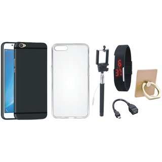 Oppo A37 Silicon Anti Slip Back Cover with Ring Stand Holder, Silicon Back Cover, Selfie Stick, Digtal Watch and OTG Cable