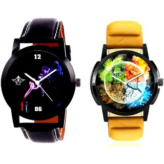 Stylish 3D Designer And Black Cigar Dial Quartz Analogue Combo Watch By Fashion Gallery Mall
