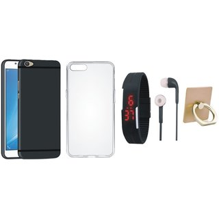 Oppo A37 Back Cover with Ring Stand Holder, Silicon Back Cover, Digital Watch and Earphones