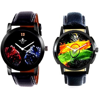 Indian Flage And 2 Jaguar Analogue Men's Combo Wrist Watch By Fashion Gallery Mall