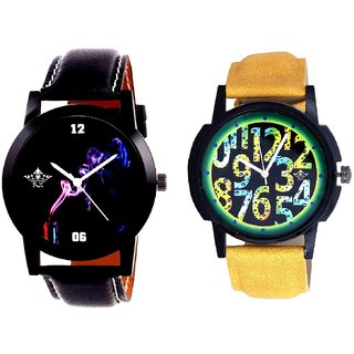 Awesome Exclusive Digits And Black Cigar Dial Quartz Analogue Combo Watch By Taj Avenue