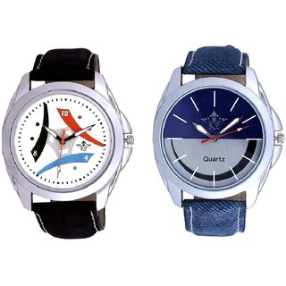 Stylish Smile Dial And Luxury Design 3 Fan Analogue Men's Combo Watch By Taj Avenue