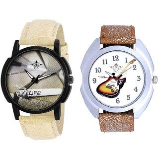 Stylish Guitar Art And Life Print Dial Men's Combo Quartz Watch By Taj Avenue