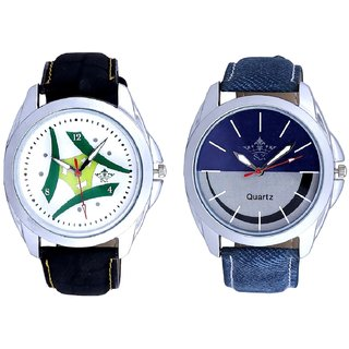 Luxury Green Tri Fan And Stylish Smile Dial Analogue Men's Combo Wrist Watch By Taj Avenue