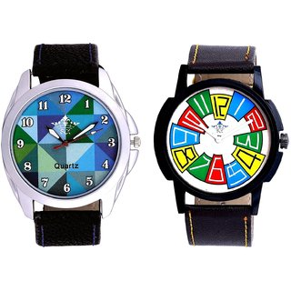 Exclusive Multi Colour And Royal Sky Colour Art Men's Combo Casual Watch By Taj Avenue