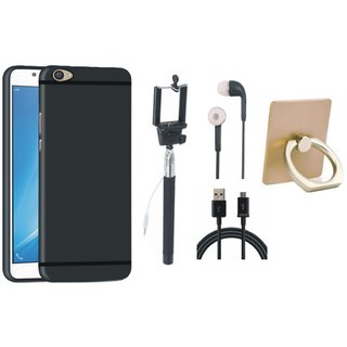 Oppo A37F Soft Silicon Slim Fit Back Cover with Ring Stand Holder, Selfie Stick, Earphones and USB Cable