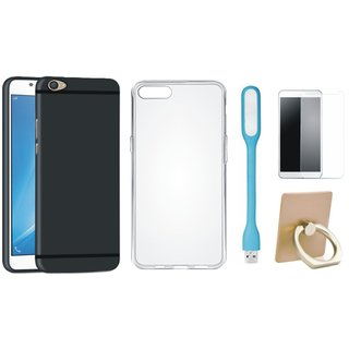Oppo A37F Soft Silicon Slim Fit Back Cover with Ring Stand Holder, Silicon Back Cover, Tempered Glas and USB LED Light