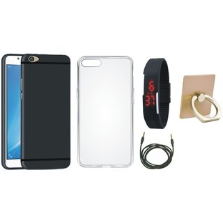 Oppo A37F Soft Silicon Slim Fit Back Cover with Ring Stand Holder, Silicon Back Cover, Digital Watch and AUX Cable
