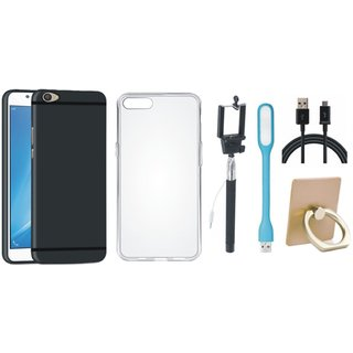 Oppo A37F Soft Silicon Slim Fit Back Cover with Ring Stand Holder, Silicon Back Cover, Selfie Stick, USB LED Light and USB Cable