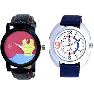 Blue Sport Leather Strap And Yellow Iron Men Dial Men's Combo Wrist Watch By Taj Avenue