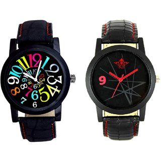 Spanish Special Colour Digit And Star Design Casual Analog Combo Men's Watch By Taj Avenue
