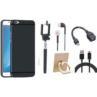 Moto E4 Plus Soft Silicon Slim Fit Back Cover with Ring Stand Holder, Selfie Stick, Earphones, OTG Cable and USB Cable