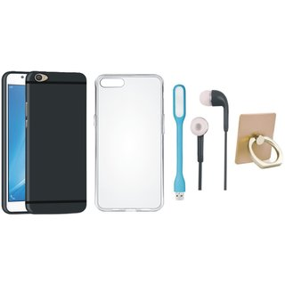 Oppo A37F Silicon Slim Fit Back Cover with Ring Stand Holder, Silicon Back Cover, Earphones and USB LED Light