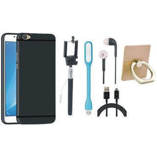 Moto E4 Plus Silicon Slim Fit Back Cover with Ring Stand Holder, Selfie Stick, Earphones, USB LED Light and USB Cable