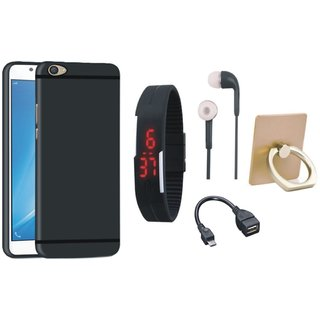 Moto E4 Plus Soft Silicon Slim Fit Back Cover with Ring Stand Holder, Digital Watch, Earphones and OTG Cable