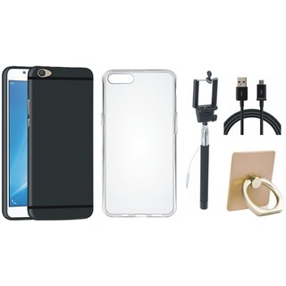 Oppo A37F Premium Quality Cover with Ring Stand Holder, Silicon Back Cover, Selfie Stick and USB Cable