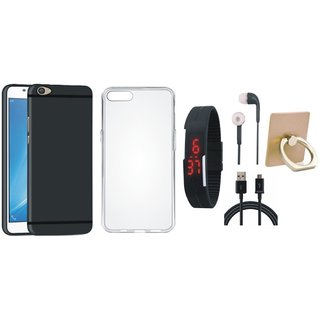Oppo A37F Premium Quality Cover with Ring Stand Holder, Silicon Back Cover, Digital Watch, Earphones and USB Cable