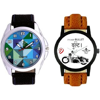 Royal Bullet And Royal Sky Colour Art Men's Combo Casual Watch By Vivah Mall