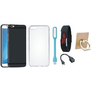 Oppo A37F Premium Quality Cover with Ring Stand Holder, Silicon Back Cover, Digital Watch, OTG Cable and USB LED Light